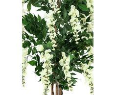 Arbuste artificiel, Glycine, 1370 feuilles, véritable tronc, 820 fleurs, blanc, 150 cm - plante grimpante artificielle / arbre artificiel fleuri - artplants