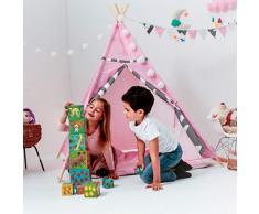 [TENTE DE JEU TIPI POUR LES ENFANTS] - WigWam pour utilisation intérieur-extérieur - Toile de coton naturel et bois - 140x120x120 cm - Maisonnette verrouillable avec Windows - Rose + Accessoires