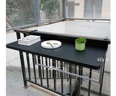 90 degrés Pliant pont réglable pour Balustrade Hanging Alliage daluminium Théière Balcon Table dappoint Convient pour la plupart des Rampes (Noir),80 * 40cm