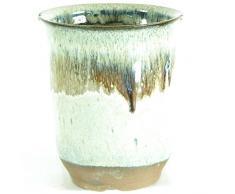 Pot à bonsaï 7.5x7.5x8.8cm beige rond en grès émaillé