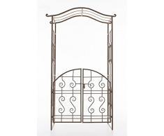 CLP Arche de Jardin exclusive avec portillon ASTIA en métal, Hauteur 220 cm, Largeur 110 cm, Gloriette jardin, marron antique