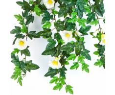 Pétunia retombant artificiel, 320 feuilles, 28 fleurs, jaune-blanc, 55 cm - fausse fleur / plante artificielle - artplants