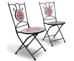 Jago - Mobilier de jardin mosaïque - MGTS01 - table Ø 60 cm - 2 chaises pliantes