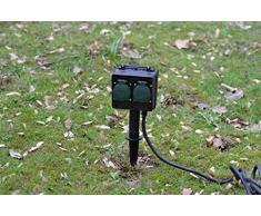 Bloc de 4 prises multiprise de jardin Piquet Idéal pour le jardin Distributeur de courant IP44 d'extérieur pour éclairage de jardin à bassin