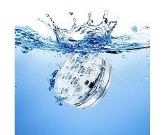 Gleading Lumières LED submersibles, RGB MultiCouleur Batterie imperméable, télécommande à distance, 10 LED Lumières submersibles waterproof pour la base de vase, jardin, aquarium, étang, piscine, cristal, fête, Noël, Halloween