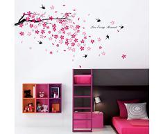 Walplus Stickers muraux fleurs roses/hirondelles/décor pour chambre denfants