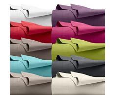 Drap plat 180 x 290 cm 100% coton Uni Rose Classique