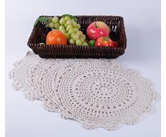 """Ambielly main ronde crochet de coton dentelle Tableau napperons napperons, Value Pack / 4 pièces,Blanc, (35cm/13.7"""")"""