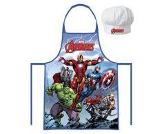 Marvel Avengers - Hulk, Catp.America, Thor, Iron Man (102050) Enfants Jeu de Chef Cuisinier Tablier de cuisine et Toque de chef, 2 pièces