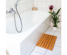 Relaxdays Sortie de douche en bois de bambou salle de bain dessous antidérapant tapis de baignoire caillebotis natte anti-glisse L x l: 53,5 x 35,5 cm- nature
