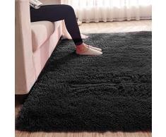 MultiWare Tapis De Salon Carpette Chambre Tapis Shaggy Carré Noir