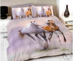 Just Contempo Parure de lit avec housse de couette à motif photo de chevaux Gris/crème/beige/marron, Mélange de coton, Crème, marron et gris, Housse de couette double