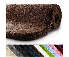 Tapis de bain grande taille casa pura® | Qualité Premium Oeko Tex | epais, moelleux, absorbant | lavable en machine | plusieurs tailles et couleurs | marron - 60x100cm