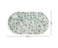 casa pura Tapis de Fond de Bain Stone antidérapant | pour Douche et Baignoire, 3 Tailles | sans PVC/Latex, antiglisse | 69x36cm (Ovale)