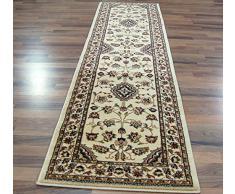 Grand et long tapis persan classique oriental style Vison Rouge 67 x 300 cm