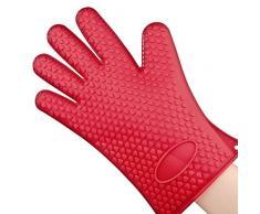 1 Gant de cuisine en silicone résistant anti-chaleur anti-brûlures surface anti-dérapante Pour Manipuler les Plats Chauds, Rouge