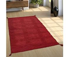 Paco Home Tapis De Créateur Tapis Tissé Kilim Tissé Main 100 % Coton Moderne Chiné Rouge, Dimension:80x150 cm