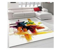 UN AMOUR DE TAPIS - Belo 3-100x100 cm - Tapis Moderne Design Tapis Salon - Tapis carré - - Créme, Jaune, Noir, Gris - Couleurs et Tailles Disponibles