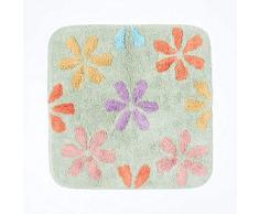 HOMESCAPES Tapis de Bain carré antidérapant à Fleurs en 100% Coton, 50 x 50 cm