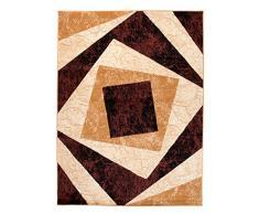 Tapis Moderne Design Carré Marron Differentes Dimensions (140 x 200 cm)