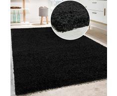 Paco Home Tapis Shaggy Longues Mèches en Différentes Tailles Et Coloris, Couleur:Noir, Dimension:150 cm carré