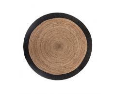 PEGANE Tapis Rond en Jute Naturel et Noir - Diamètre : 120 cm