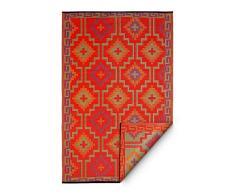 FAB HAB Lhasa - Tapis Orange & Violet en Polypropylène recyclé pour intérieur/extérieur (90 cm x 150 cm)
