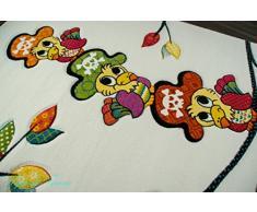 Enfants tapis de jeu tapis enfants de tapis mignon animaux colorés conception de perroquet avec contour coupé Crème Orange Rouge Turquoise Jaune Rose Vert Noir Größe 120x170 cm