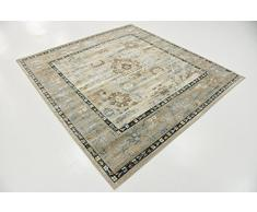 Moderne Country Manche de manche (6 'x 6') carré Cambridge contemporain Beige Tapis Zone