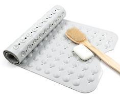bligli Extra Long antidérapant environnement TPR caoutchouc tapis de bain tapis de douche avec ventouses 40 x 99 cm, gris, Blanc
