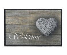 HMT 555004 Paillasson Welcome Stone Coeur Polyamide Multicolore 50 x 75 cm