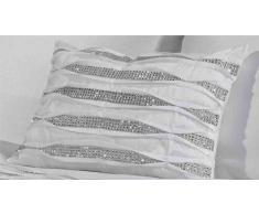 Cristal Plissé Diamante Boudoir garni moderne nouveau coussin rectangulaire, Polyester, Blanc, 30x 40cm