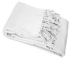 Couleur Montagne Jeté de Canapé Lana coton Blanc 180 x 220 cm