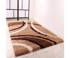 PHC Shaggy Tapis à longs poils Marron/beige/crème/motifs 190x280 cm