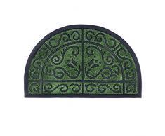 Relaxdays Paillasson demi-lune tapis dentrée demi-rond antidérapant caoutchouc intérieur extérieur 50 x 80 cm, vert