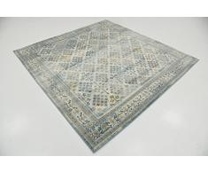 Moderne Country Manche de manche (6 'x 6') Tapis Zone Cambridge Bleu clair carré contemporain