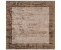 Tapis contemporain design Barrow BORDER carré 160X160cm BB02 CHOCO MOCHA 100% Viscose