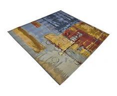 Moderne abstrait 6-Feet par 6-Feet (6 'x 6') carré Eden extérieur Multi contemporain Zone Tapis
