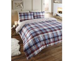 Angus flanelle couette King taille housse de couette et 2taie doreiller Parure de lit, bleu motif tartan à carreaux rouge/blanc/bleu marine