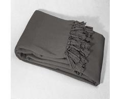 douceur dintérieur jete de fauteuil a franges 150x150cm coton lana anthracite