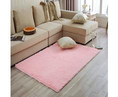 Longues en peluche à poils longs doux tapis antidérapant Tapis de porte Tapis de sol pour chambre salon, Coton, rose, Taille M