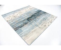 Moderne Abstrait Manche de manche (6 'x 6') carré MIRAGE Bleu foncé contemporain Tapis Zone
