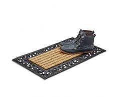 Relaxdays Paillasson fibres de coco tapis de sol rectangle résistant rayé fleur 75x45 cm antidérapant, nature/noir, 80 x 150 cm