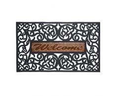 Relaxdays Paillasson Welcome aspect fonte porte entrée noir tapis bienvenue 75 x 45 cm, noir-or