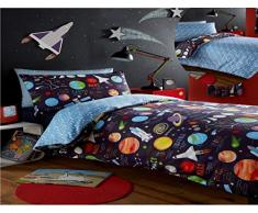 Kidz Club Parure de Lit avec 1 Housse de Couette et 2 Taies DOreiller Motif Espace avec Soleil, Lune et Planètes pour Lit Double Noir