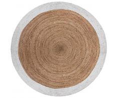 PEGANE Tapis Rond en Jute et Coton Coloris Marron/Blanc - Diamètre : 120 cm