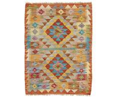 CarpetFine: Tapis Kilim Afghan - 65x87 cm Brun - Géométrique