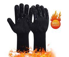 Gants de Barbecue Anti-Chaleur 1 Paire | Gants de Four Silicone Antidérapant Jusquà 800°C | Universel Gants pour BBQ, Grill, Four, Cuisine et Cheminée