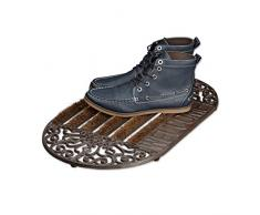 Relaxdays 10020114 Paillasson en fonte avec brosse essuie-pieds tapis dentrée en fonte ovale WELCOME h x l x P: 4 x 65 x 37 cm style maison de campagne ancien anti-dérapant, bronze
