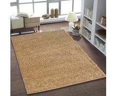 Uni shaggy tapis à poils longs uni beige ronde et rectangulaire neuf certifié öko tex, Polypropylène, beige, 60 cm_x_110 cm